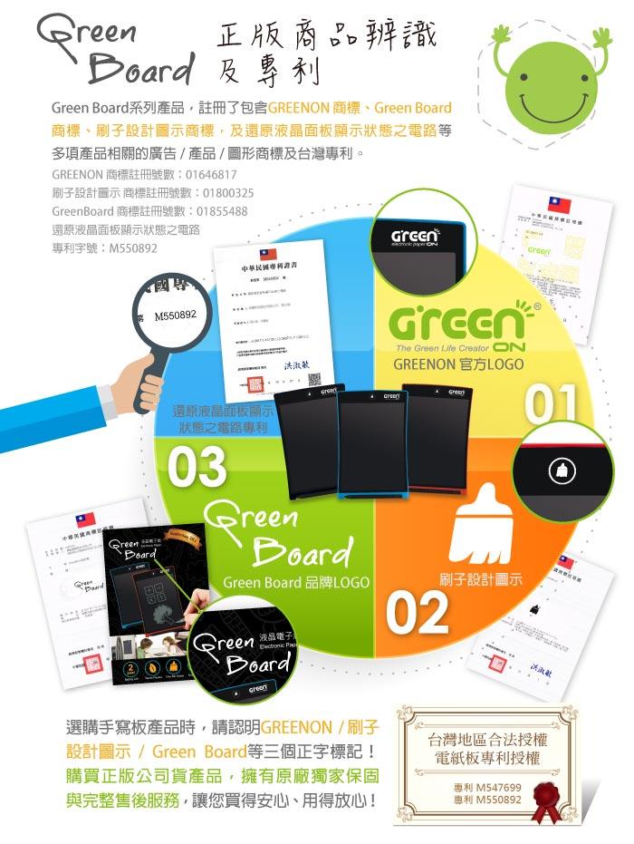 Green Board 電紙板,正版商品辨識