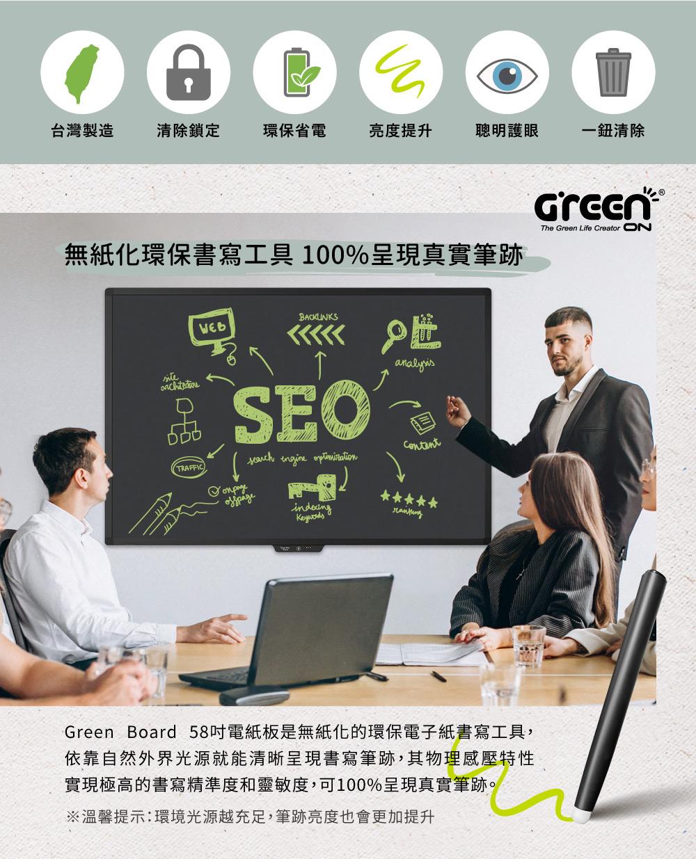 Green Board 58吋 清除鎖定電紙板 無紙化環保書寫工具 100%呈現真實筆跡
