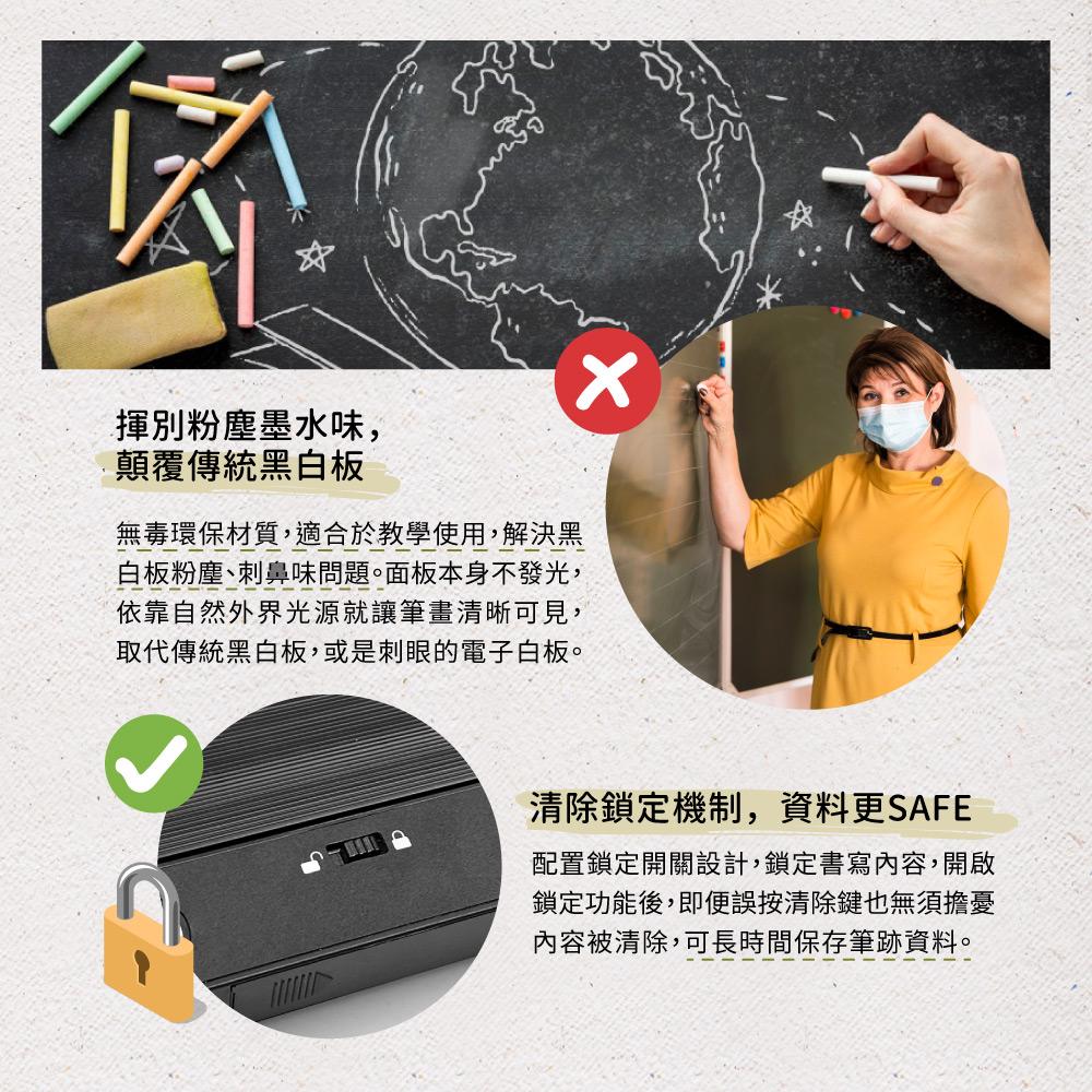 Green Board 58吋電紙板使用無毒環保材質,書寫過程不會產生任何粉塵,無刺激性氣味,無毒環保。